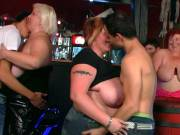 Busty fat chicks in the bar get frisky