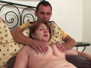 Wrinkled babe gets young man cock