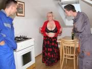 Lusty grandma has two men
