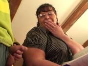 Hot granny eats his dick