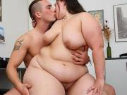 Horny fat girl and young man screw