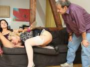 She eats his mom's wet pussy